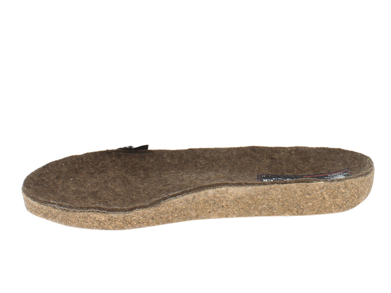 Haflinger Felt Clogs Grizzly Michl Choco footbed