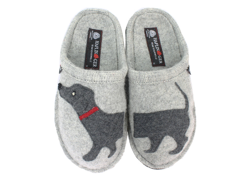 Haflinger Slippers Flair Dachs Dog Grey upper view