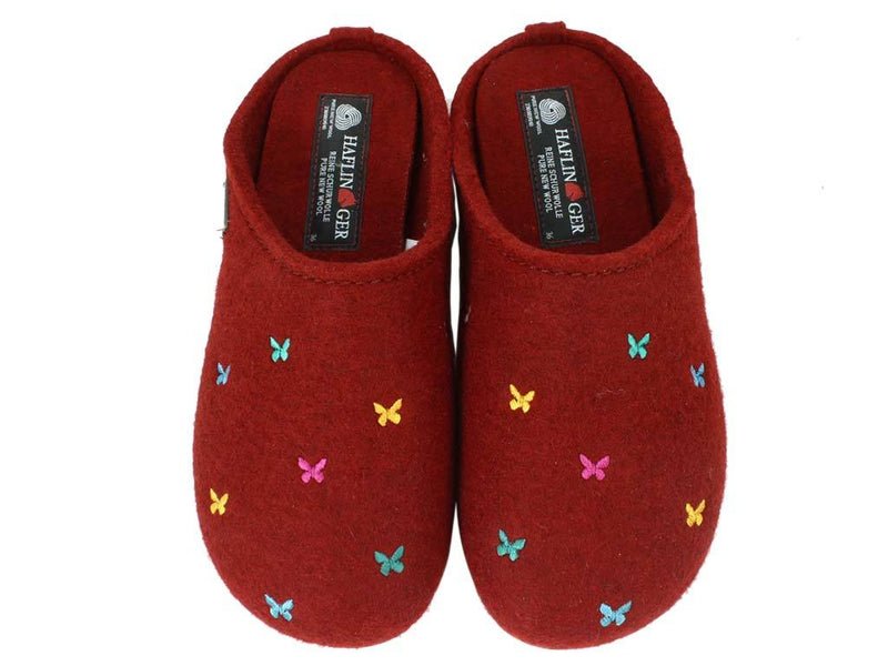 Haflinger Slippers Everest Butterflies Red upper view