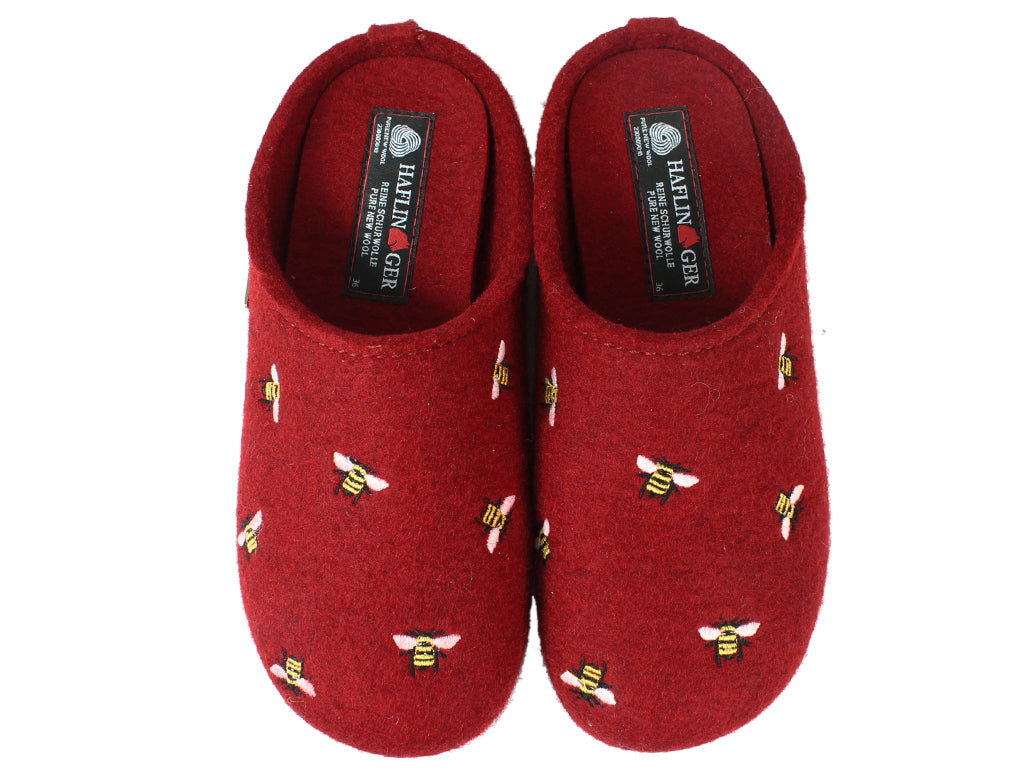 Haflinger Slippers Everest Bees Rubin upper view