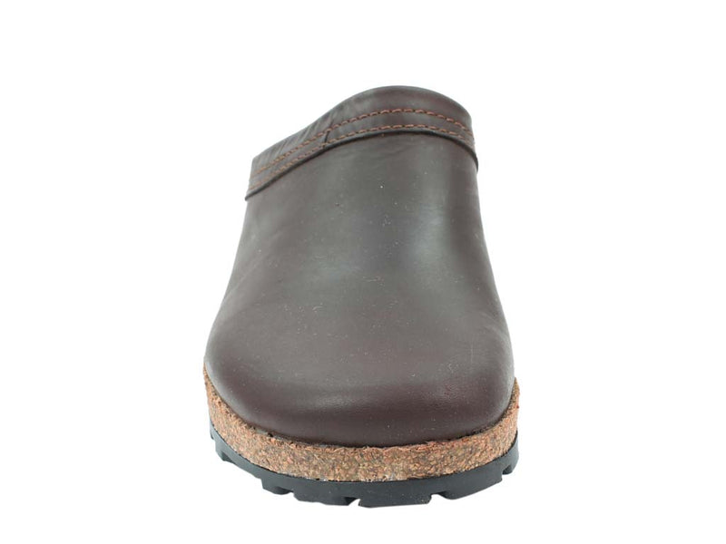 Haflinger Leather Clogs Malmo Brown front view