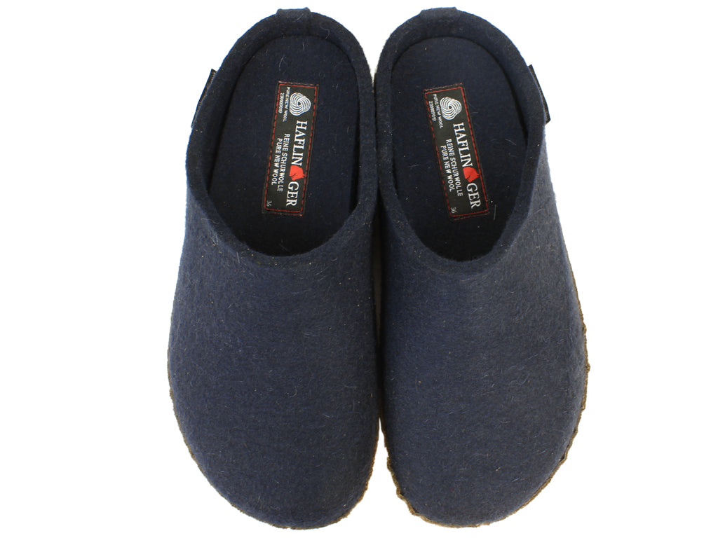 Haflinger Felt Clogs Emil Navy Blue upper view