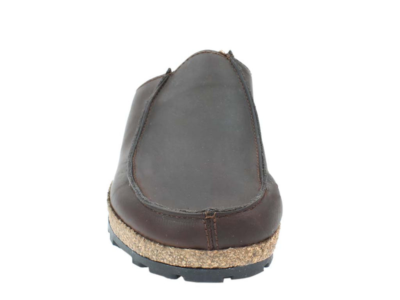 Haflinger Leather Clogs Kolding Brown front view