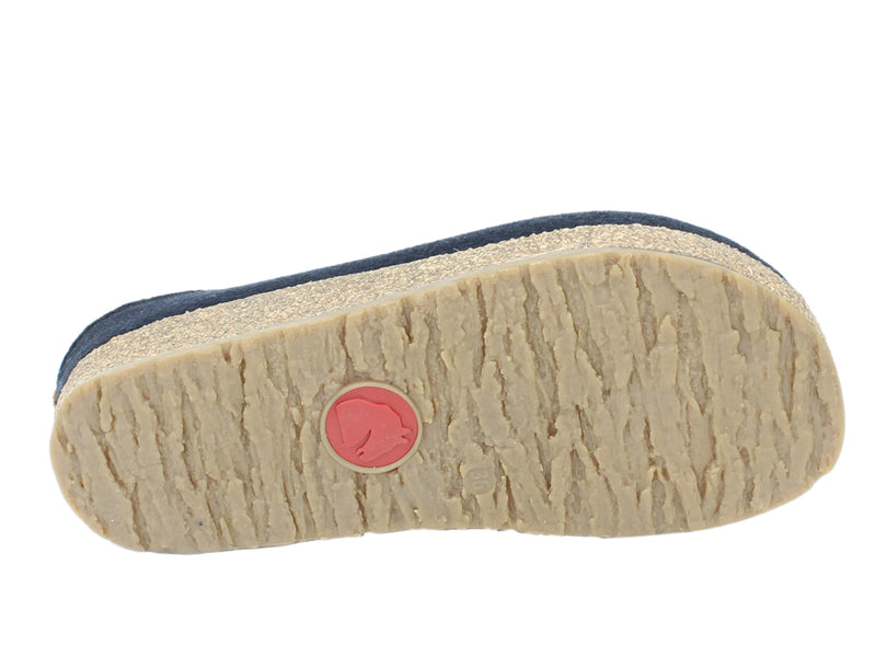 Haflinger Felt Clogs Grizzly Kris Navy Blue sole view