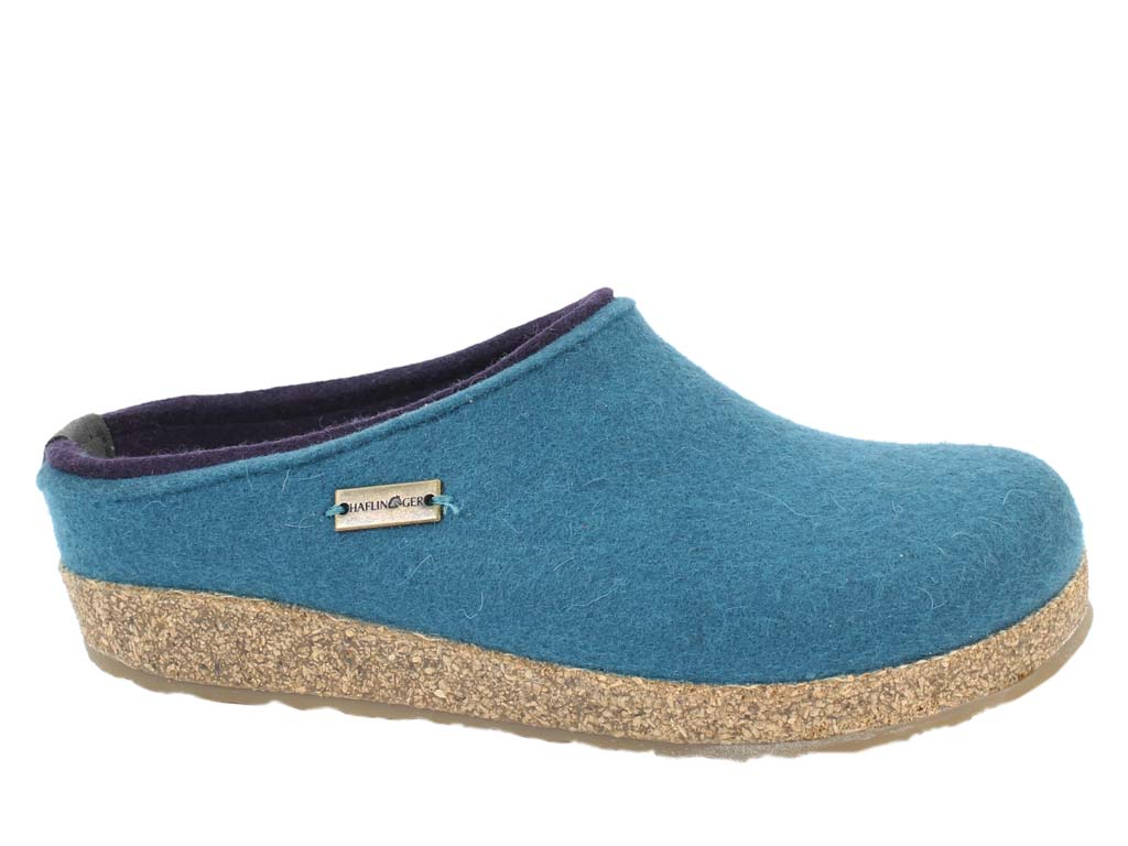 Haflinger Felt Clogs Grizzly Kris Turkish Blue side view