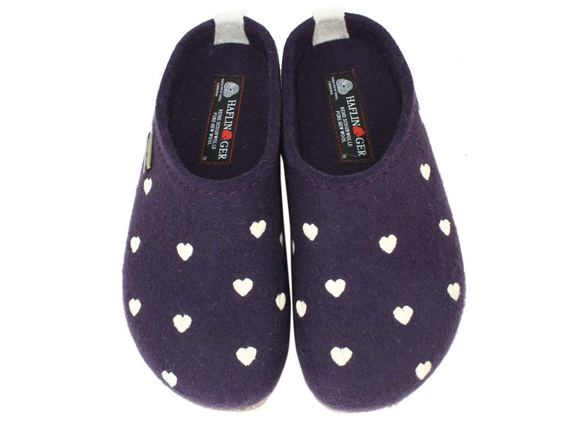 Haflinger Felt Clogs Grizzly Sweetheart Lavender upper view