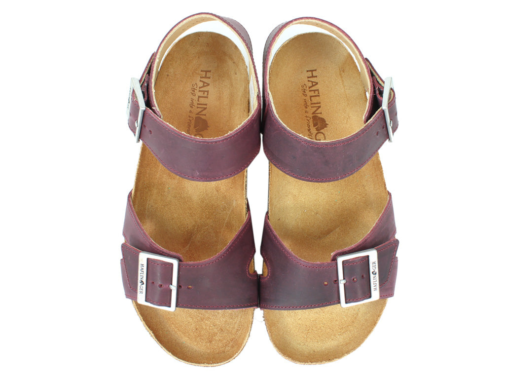 Haflinger Sandals Rebecca Bordeaux upper view