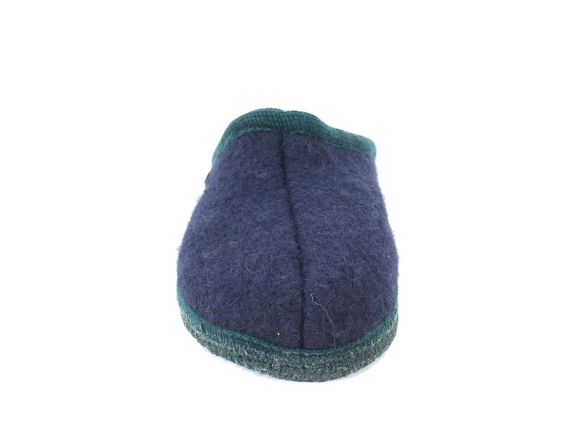 Haflinger Slippers Alaska Navy & Green front view
