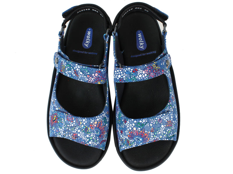 Wolky Women Sandals Rio Mosaic Royal Blue upper view