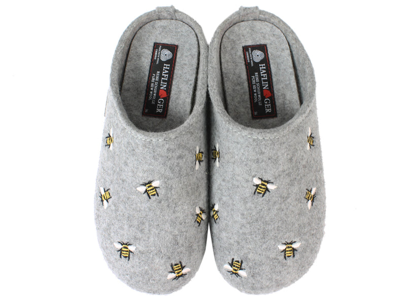 Haflinger Slippers Everest Bees Light Grey upper view