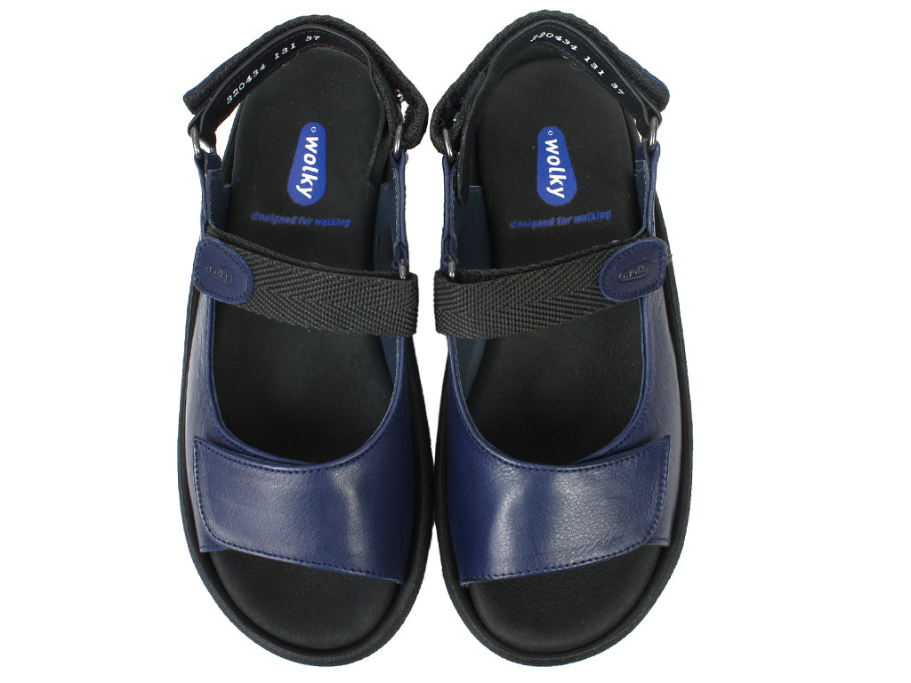 Wolky Sandals Jewel Navy Blue uper view