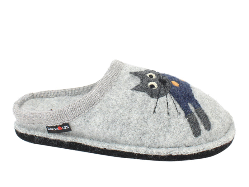 Haflinger Slippers Flair Cucho Cat Grey side view