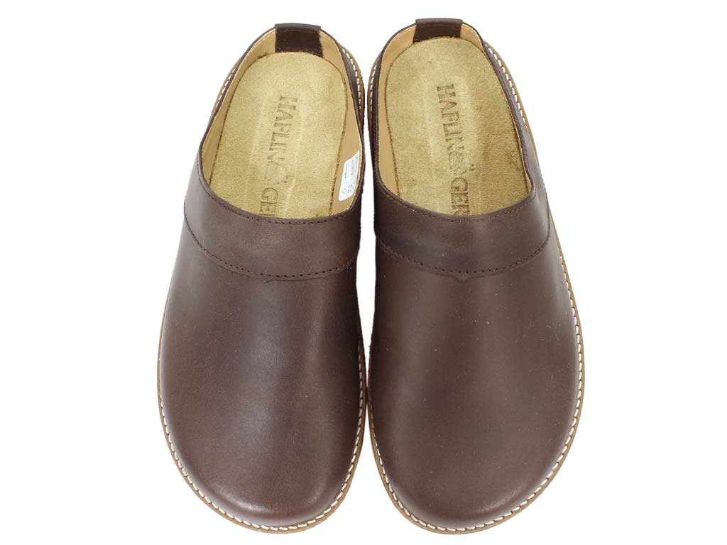 Haflinger Leather Clogs Travel Choco Brown upper view