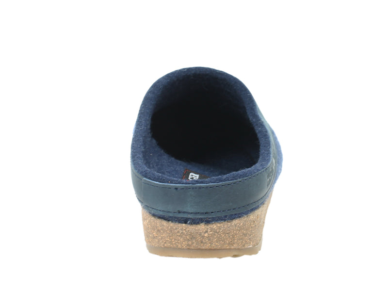 Haflinger Clogs Grizzly Torben Jeans Blue back view