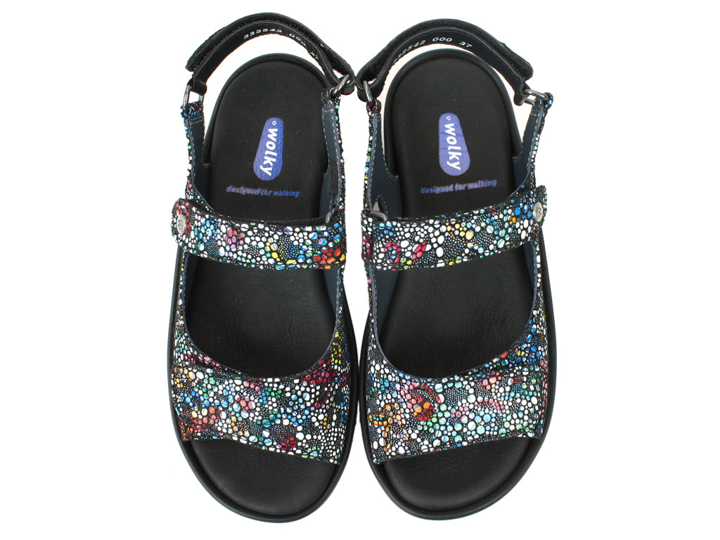 Wolky Sandals Rio Mosaic Black UPPER VIEW