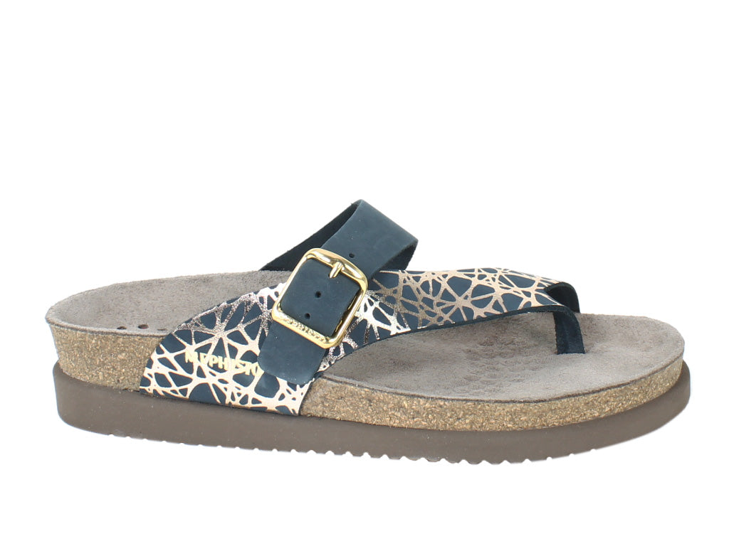 Mephisto Sandals Helen Graphic Navy side view