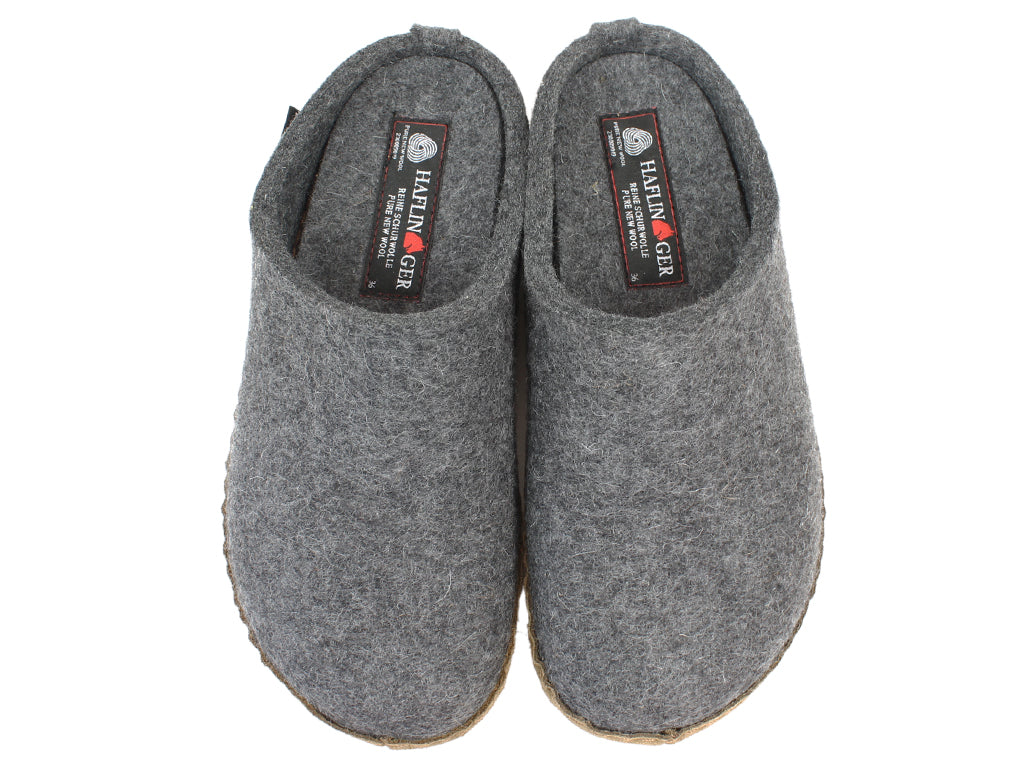 Haflinger Felt Slippers Emil Anthracite upper view