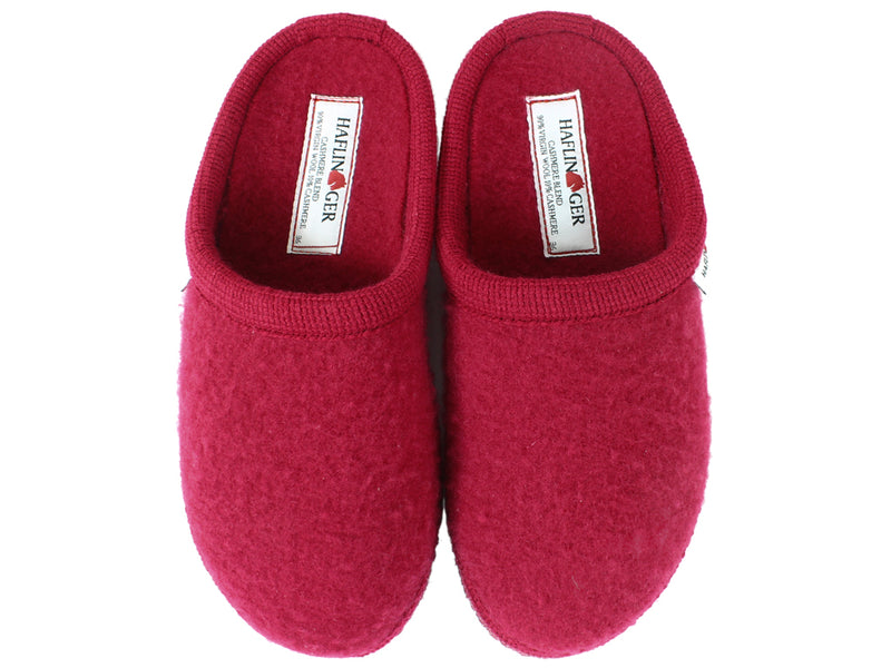 Haflinger Slippers Cashmere Red upper view