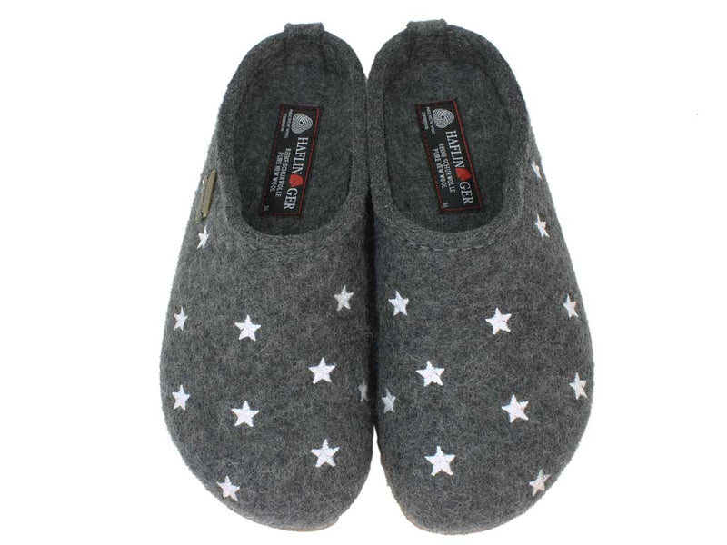 Haflinger Felt Clogs Grizzly Stars Anthracite upper view