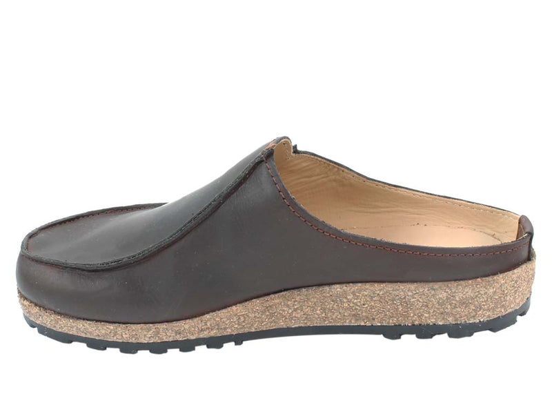 Haflinger Leather Clogs Kolding Brown in side view