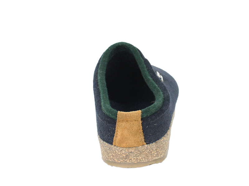 Haflinger Felt Clogs Grizzly Kris Navy Blue back view