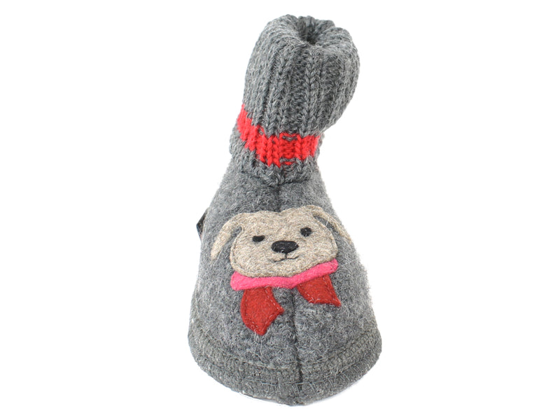 Haflinger Children's slippers Kisses Anthracite FRONT VIEW