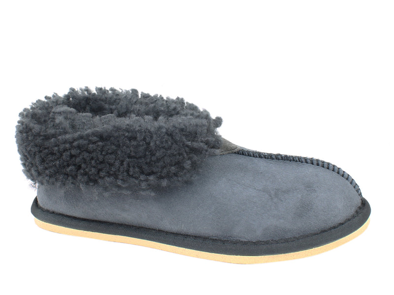 Celtic & Co Slippers Sheepskin Bootee Dark GreyBlue side view