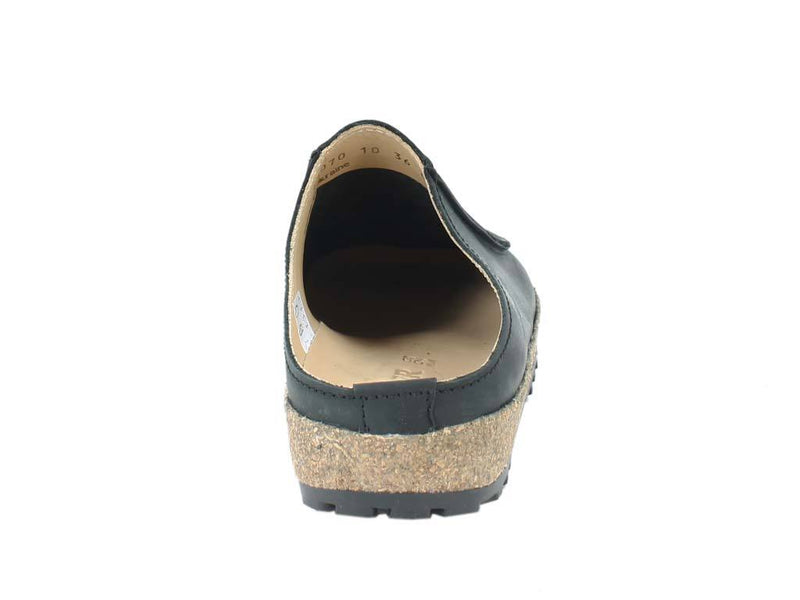 Haflinger Leather Clogs Kolding Black back view
