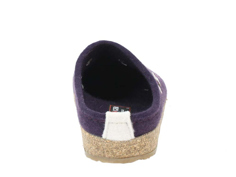 Haflinger Felt Clogs Grizzly Sweetheart Lavender back view