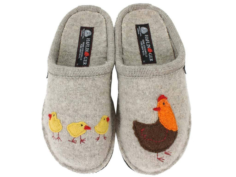 Haflinger Slippers Flair Hen Brown upper view