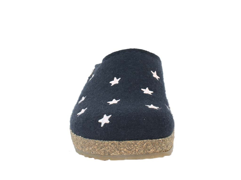 Haflinger Felt Clogs Grizzly Stars Navy Blue front view