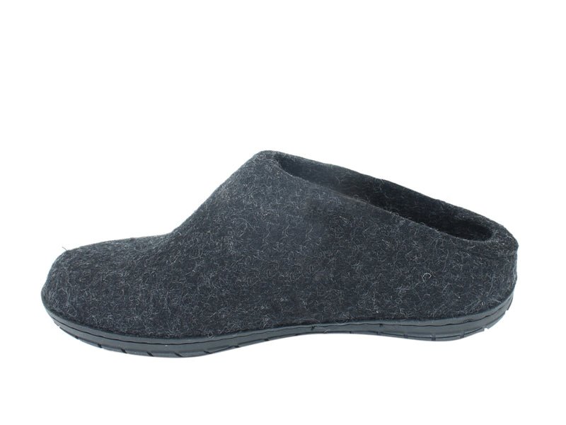 Glerups Slippers Charcoal Rubber Sole side view