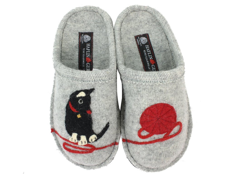 Haflinger Slippers Flair Cat Grey upper view