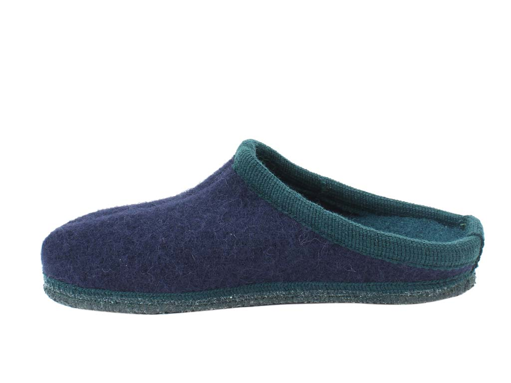 Haflinger Slippers Alaska Navy & Green side view