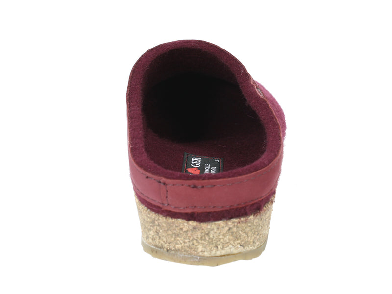 Haflinger Felt Clogs Grizzly Torben Bordeaux back view