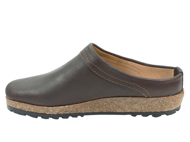 Haflinger Leather Clogs Malmo Brown in side view