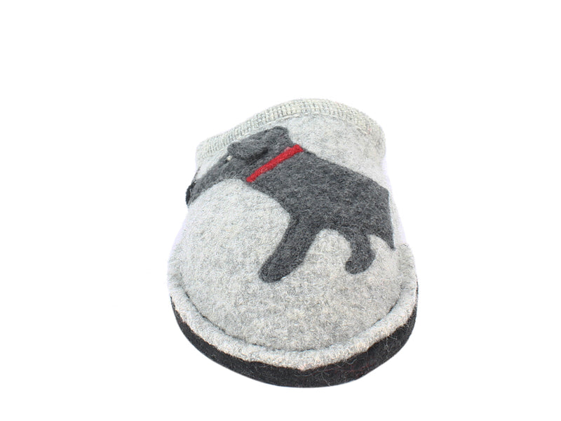 Haflinger Slippers Flair Dachs Dog Grey front view