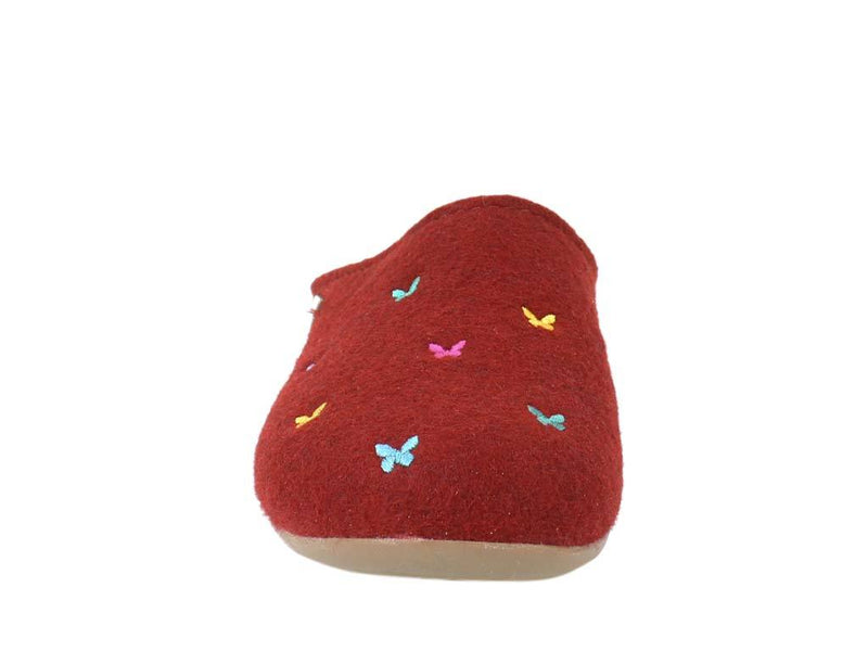 Haflinger Slippers Everest Butterflies Red front view