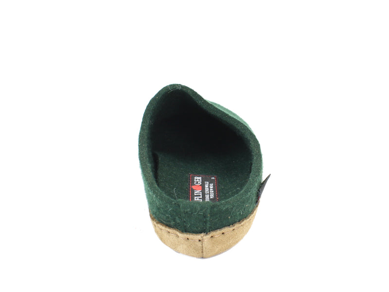 Haflinger Felt Slippers Emil Green back view