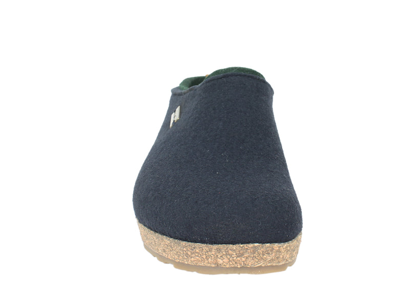Haflinger Felt Clogs Grizzly Kris Navy Blue front view