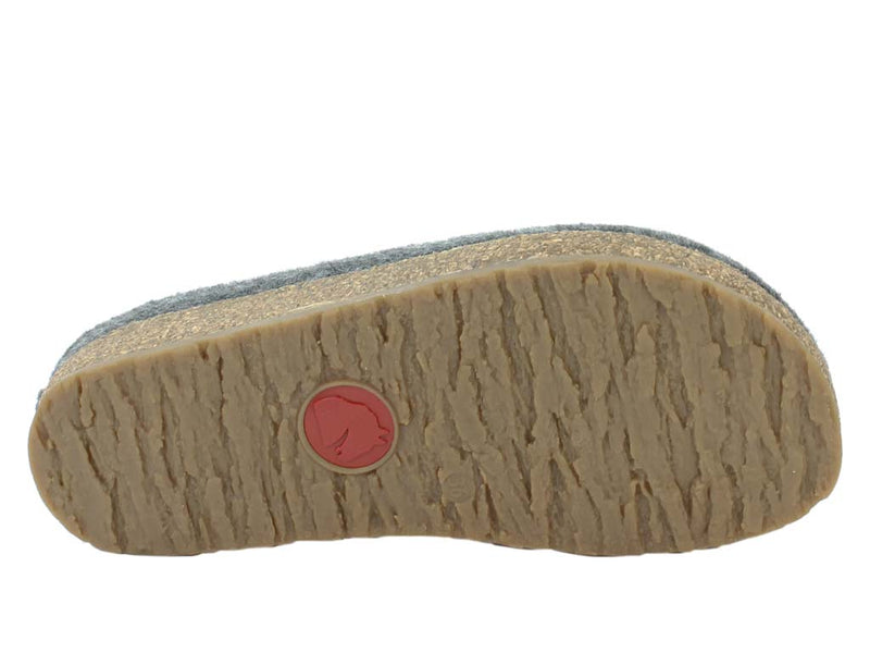Haflinger Felt Clogs Grizzly Stars Anthracite sole view