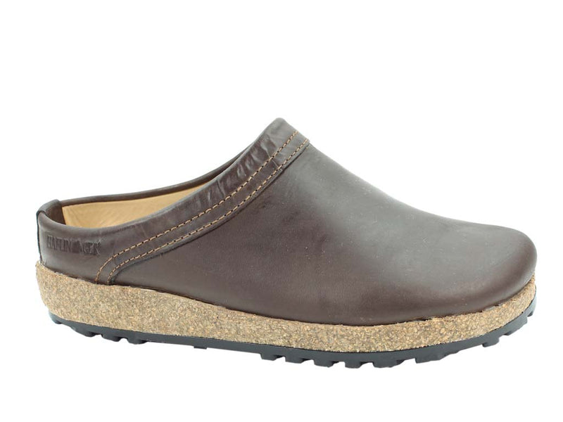 Haflinger Leather Clogs Malmo Brown side view