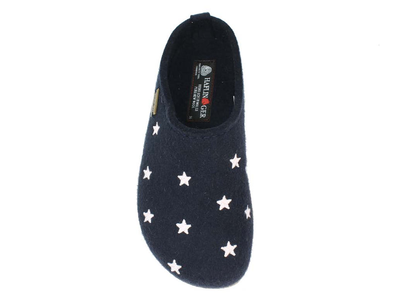 Haflinger Felt Clogs Grizzly Stars Navy Blue top view