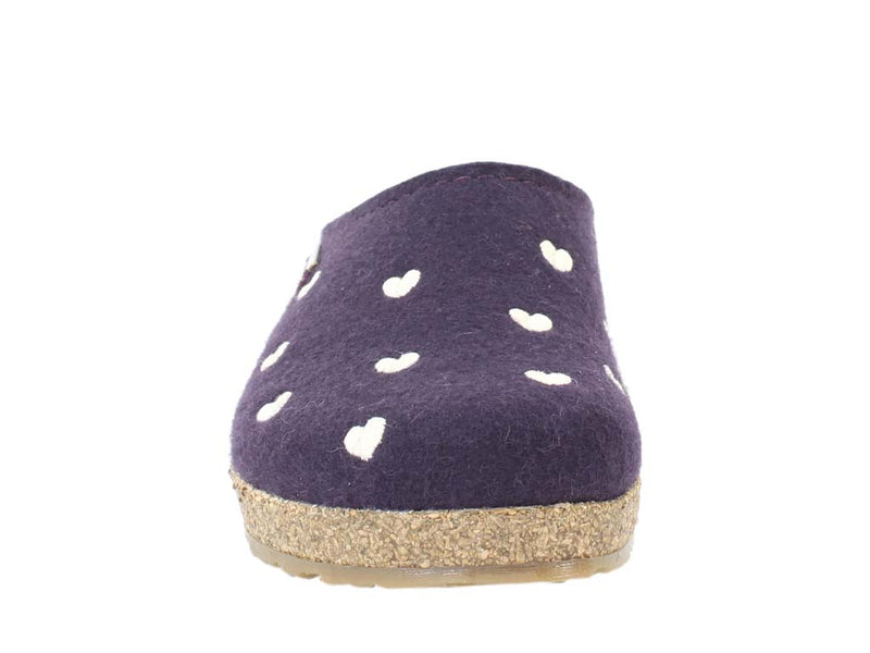 Haflinger Felt Clogs Grizzly Sweetheart Lavender front view