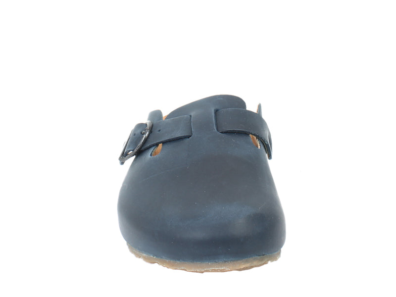 Haflinger Unisex Leather Clogs Lorenzo Navy front view