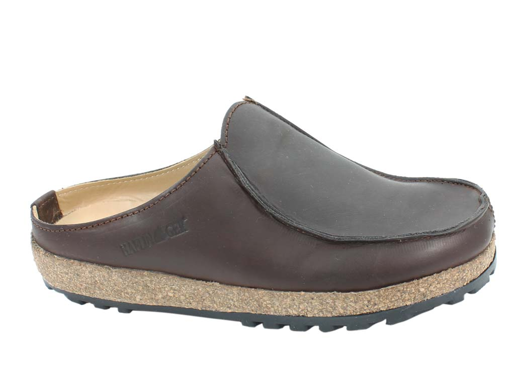 Haflinger Leather Clogs Kolding Brown side view