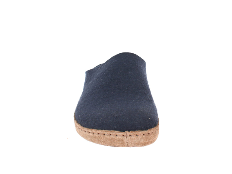 Haflinger Felt Clogs Emil Navy Blue front view