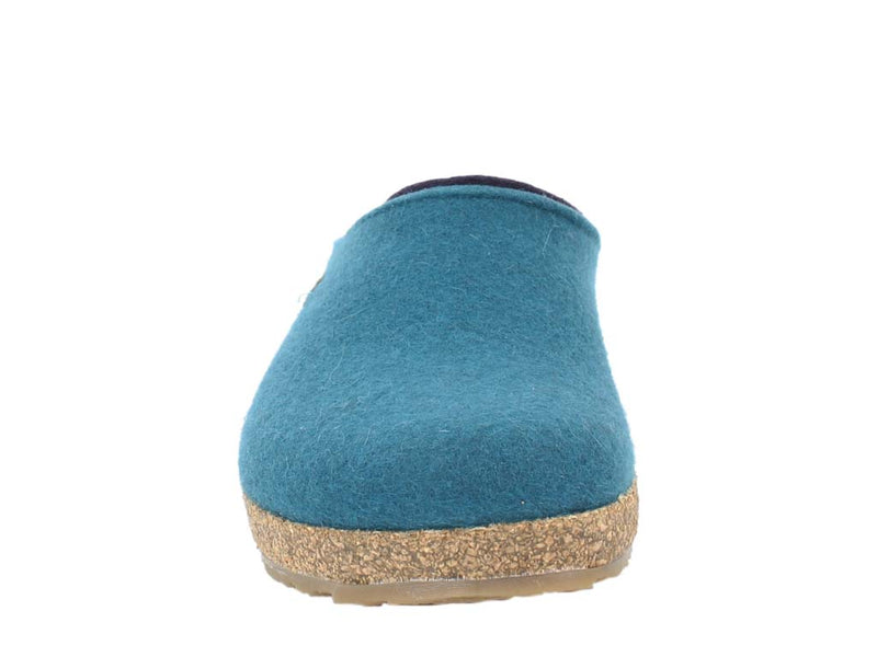 Haflinger Felt Clogs Grizzly Kris Turkish Blue front view