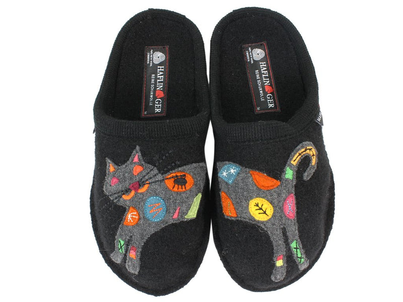 Haflinger Slippers Flair Sassy Cat Black upper view