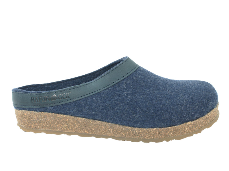Haflinger Clogs Grizzly Torben Jeans Blue side view